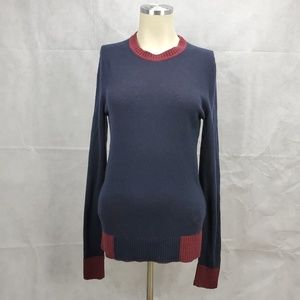 Tory Burch Wool Cashmere Blue Red Crewneck Sweater